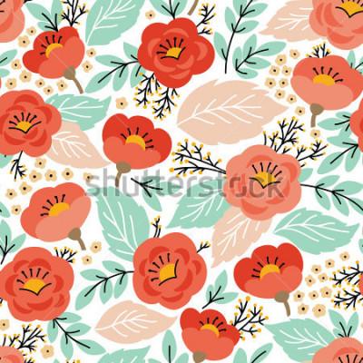 Sticker Modèle sans couture élégant avec des fleurs. Il peut être utilisé comme papier peint ou comme cadre pour une tente murale ou une affiche, pour le remplissage de motifs, les textures de surface, les