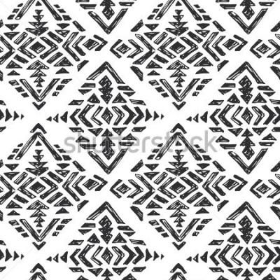 Sticker Modèle sans couture ethnique dessiné de principal vecteur avec des éléments abstraits tribales dans le style de croquis de doodle blanc noir