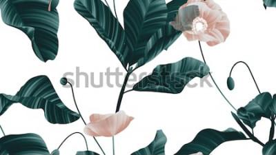 Sticker Modèle sans couture, fleurs de pavot marron avec des feuilles vertes sur fond blanc