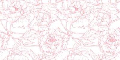 Sticker Modèle sans couture, fleurs de pivoine rose contour dessiné main sur fond blanc