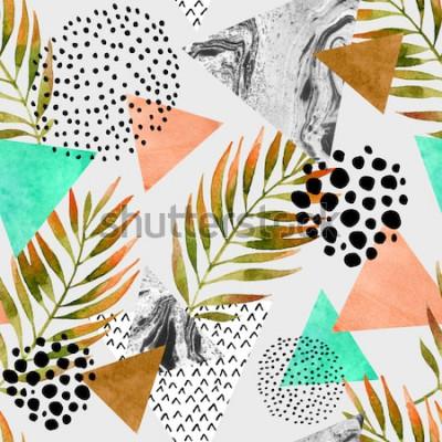 Sticker Modèle sans couture géométrique abstrait été. Triangles avec des textures grunge de feuille de palmier et de marbre. Abstrait géométrique dans le pop art rétro vintage des années 80 des années 90. Ill