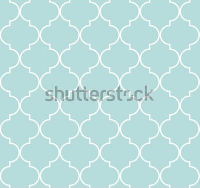 Sticker Modèle sans couture géométrique Quatrefoil, arrière-plan, illustration vectorielle en menthe bleue, couleur turquoise douce et blanc.