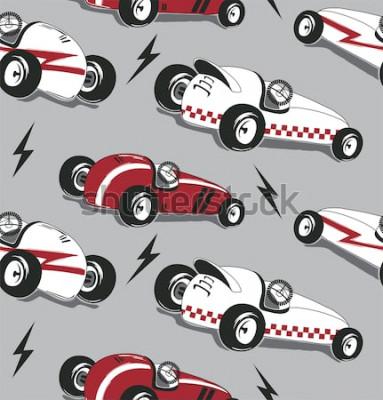 Sticker Modèle sans couture, graphique de t-shirt Vintage course voitures typographie isolé sur fond illustration vecteur.