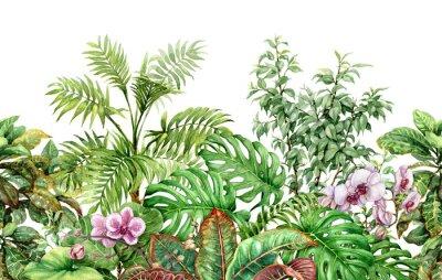 Sticker Modèle sans couture ligne plantes tropicales
