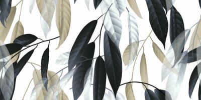 Sticker Modèle sans couture, longues feuilles noires, dorées et blanches sur fond gris clair