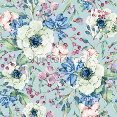 Sticker Modèle sans couture naturel décoratif vintage aquarelle avec anémone, fleurs sauvages, coton, feuille et bourgeons, illustration florale botanique sur fond bleu