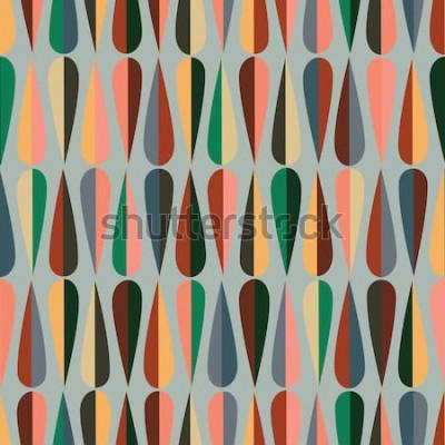 Sticker Modèle sans couture rétro de style moderne du milieu du siècle avec des formes de baisse dans diverses tonalités de couleur, abstrait répétant le fond pour tout le Web et à des fins d'impression.