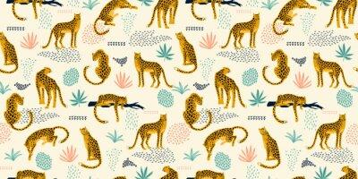 Sticker Modèle sans couture Vestor avec des feuilles de léopards et tropicales.