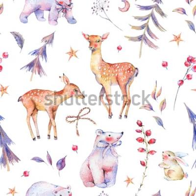 Sticker Modèle sans couture vintage aquarelle hiver avec mignon ours, cerf, fauve, lièvre et forêt magique sur fond blanc, décoration de Noël, illustration de vacances de dessin animé
