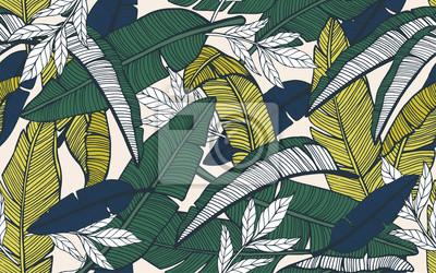 Sticker Modèle tropical sans soudure avec des feuilles de bananier. Dessiné à la main