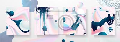 Sticker Modèles de création fluides abstraits, cartes, jeu de couvertures de couleur. Dessin géométrique, liquides, formes. Collection de vecteur à la mode. Pastel et néon design, forme graphique fluide géomé