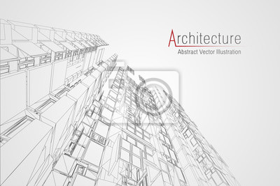 Sticker Modern architecture wireframe. Concept of urban wireframe. Wireframe building illustration of architecture CAD drawing.