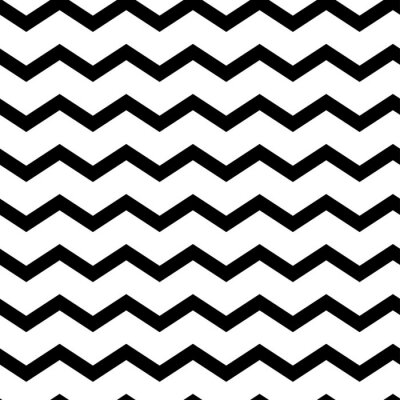 Sticker Modern geometric seamless pattern zig zag. Black waves isolated on white background. Classic striped retro background. Vector illustration