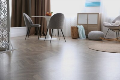 Sticker Modern living room with parquet floor and stylish furniture