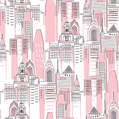 Sticker Modern New York city scape in pink colour. Girlish Superhero themed seamless pattern. Vector doodle graphics. Perfect for little girl design like t-shirt textile fabric print birtday party wrapping