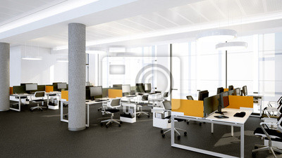 Sticker: Moderne arbeitsplätze - espace de travail moderne et ouverte