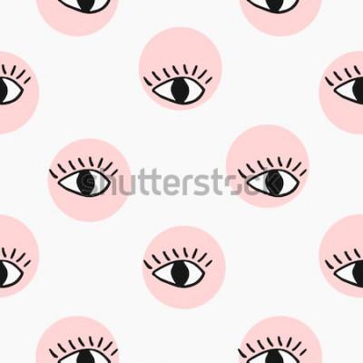 Sticker Moderne modèle sans couture avec des yeux dessinés à la main.