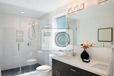 Sticker: Moderne, salle bains, intérieur, verre, porte, douche, blanc,