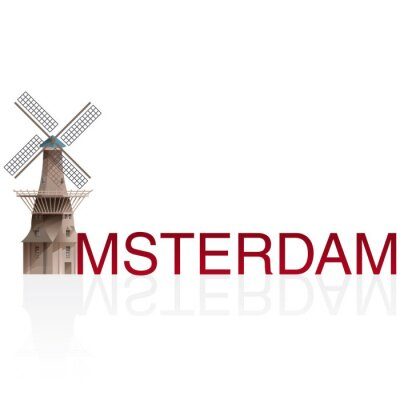 Sticker MOLEN DE GOOYER, Amsterdam. Vecteurs de européen, monumental, villes.