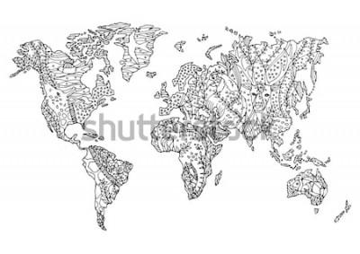 Sticker monde carte animal sauvage faune fleur floral dessin design illustration vectorielle dessinés à la main