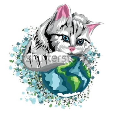 Sticker Monde écologique de chat de vecteur avec la planète et les taches de neige félines, chat gris aux yeux bleus.