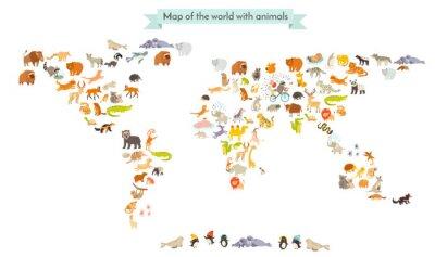 Sticker Mondiale, mammifère, carte, silhouettes. Carte du monde des animaux. Isolé sur fond blanc illustration vectorielle. Illustration colorée de bande dessinée pour des enfants et d'autres personnes. Éduca