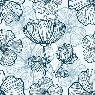 Sticker Monochrome, pavot, fleurs, seamless, modèle