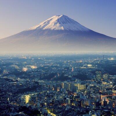 Sticker Mont Fuji. Fujiyama. Vue aérienne avec cityspace tir surréaliste. J
