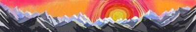 Sticker Montagne, Lever soleil, Coucher soleil, numérique, résumé, art, peinture ...