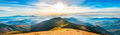Sticker Montagne, paysage, Coucher soleil