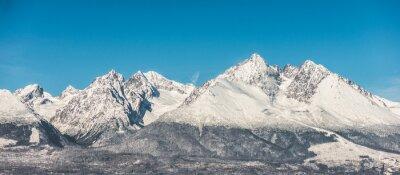 Sticker Montagne, paysage, neige, couvert, élevé, montagnes, bleu, ciel