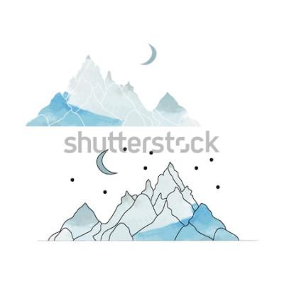 Sticker Montagnes bleues. Dessin d'un paysage dans le style de l'aquarelle. Illustration vectorielle