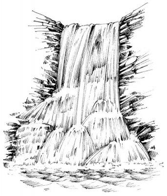 Sticker Montagnes, Chute eau, graphique, Illustration