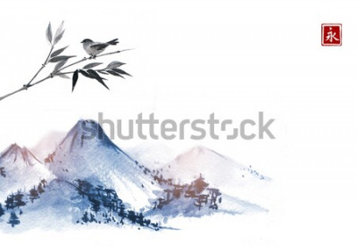 Sticker Montagnes et petit oiseau sur une branche de bambou. Hiéroglyphe - éternité. Peinture à l'encre orientale traditionnelle sumi-e, u-sin, go-hua.