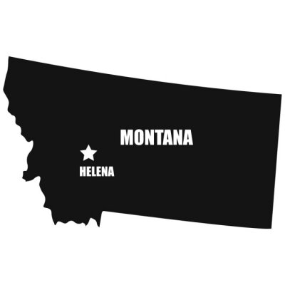 Montana map in black on a white background
