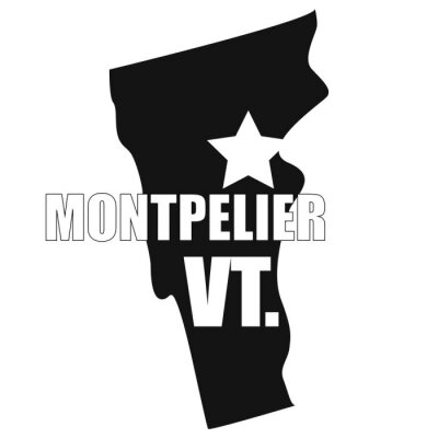 Montpelier map in black on a white background