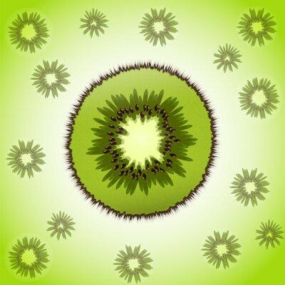 Sticker Morceau de kiwi sur le fond de fruits