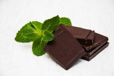 Sticker morceaux de chocolat avec une feuille de menthe