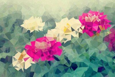 Sticker Mosaïque, bas, polygone, fond, fleurs, fond, illustration