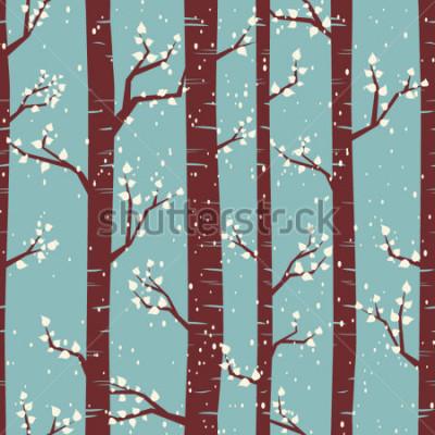 Sticker Mosaïque transparente avec des bouleaux sous la neige.