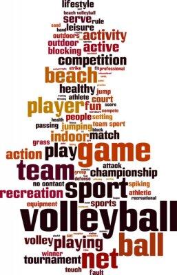 Sticker mot de concept de nuage de Volley-ball. Vector illustration