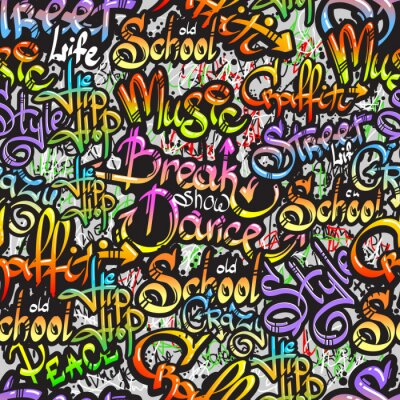 Sticker Mot Graffiti seamless pattern