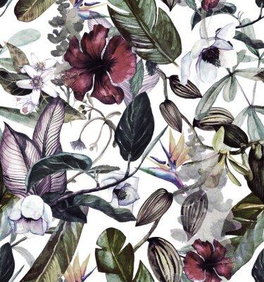 Sticker Motif aquarelle transparente avec des fleurs tropicales, magnolia, fleur d'oranger, vanille orchidée, feuilles tropicales, feuilles de bananier