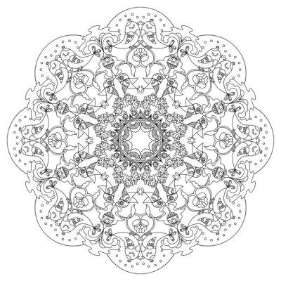 Sticker Motif circulaire avec des oiseaux et des fleurs dans le style Doodle
