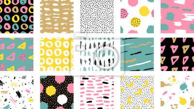 Sticker Motif coloré sans soudure de vecteur tendance avec coups de pinceau. Illustration vectorielle