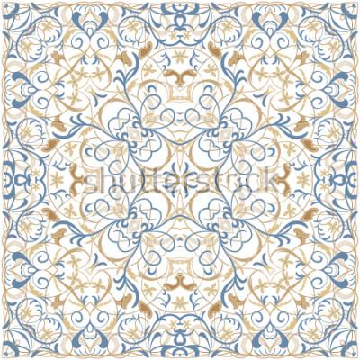 Sticker Motif de couleurs vives dans un style oriental. Ornement carré pour châles, écharpes ou oreillers. Peut-être être utilisé pour imprimer sur le tissu ou du papier. Illustration vectorielle