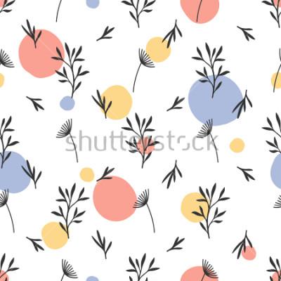 Sticker Motif de fleurs sans soudure. Ornement botanique plat avec éléments de la nature dessinés à la main. Texture répétée simple. Textile original moderne, papier d'emballage, design d'intérieur. S