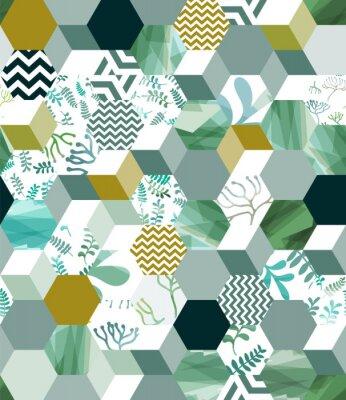 Sticker Motif de fond sans couture branché avec des carreaux hexagonaux en vert, eps10