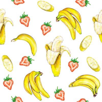 Sticker Motif de fruits. Seamless texture des fruits banane et fraise sur un fond blanc. Illustration d'aquarelle. Handwork