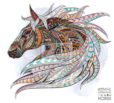 Sticker Motif de la tête du cheval sur le fond grunge. Conception africaine / indienne / totem / tatouage. Il peut être utilisé pour la conception d'un t-shirt, un sac, une carte postale, une affiche et ainsi